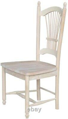 Dining Chair Lattice Back Solid Wood Frame Unfinished with Box Seat (Set of 2)