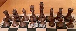 Drueke Five-Inch King, No. 38 Chessmen Set in Beveled Walnut Box, 1960s