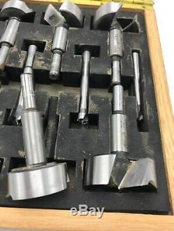 Grizzly Forstner 1/4 Inch to 2-1/8 Inch Wave Cutter 16 Piece Drill Bit Set Box