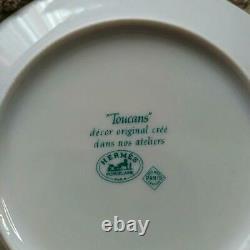 HERMES plate TOUCANS dish tableware 2 pair set 6.3 inches porcelain box