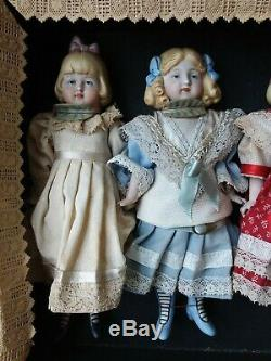 Incredible Complete Antique Box Set Of 5 Limbach 8 Inch All Bisques Near Perfect