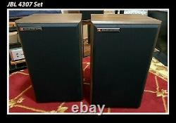 JBL 4307 10 inch 3-way Monitor Speaker Set Real Walnut Veneer Rare Boxed Mint