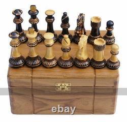Jester 10 x 10 Chess set Burnt wood in Teak Box (3.75 inch King, no board)