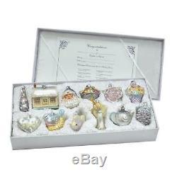 Kurt Adler 3-4.375-Inch Noble Gems Newlywed's Glass Tree Box, Set Of 12