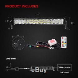 LED Light Bar 22 Spot Flood Combo Beam Work Lamp Multi-color RGB Halo Angel Eye