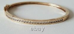 Ladies. 375 9ct Gold Diamond Set Bangle & Box 6 & 1/2 inch Wrist 12g