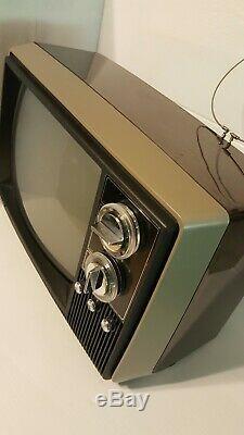 Magnavox Vintage Television Space Age Retro Brown 1979 B&w 12-inch Tv Set W Box