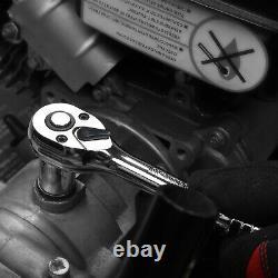 Mechanics Tool Kit 1/4 3/8 inch Drive Sockets Screwdriver Bits Set 145 Piece