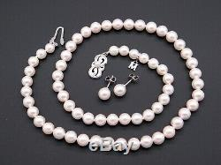 Mikimoto 18k White Gold 7mm Round White Pearl Necklace Earring Set 18 inch Box