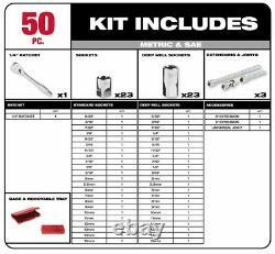 Milwaukee Socket Mechanics Tool Set 1/4 Inch Drive SAE Metric Ratchet Automotive