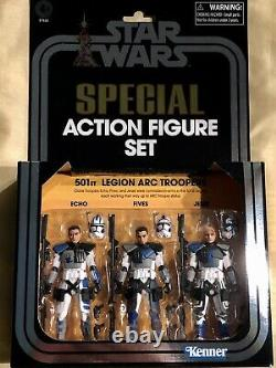 New In Box Hasbro Star Wars 3.75 Inch 501st Legion Arc Troopers 3 Piece Set
