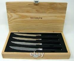 New Kamikoto 5 inch Steak Knifes Set of 4 Japanese Honshu Steel in wood Box