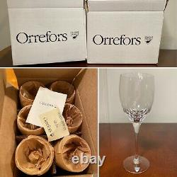 New in Box Set of 12 ORREFORS Prelude Pattern 8.25-inch Crystal Wine Glasses 8oz