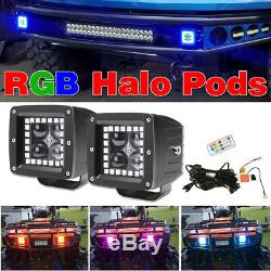 Pair 3 inch 4D Cube LED Work Light Bar Pods with RGB HALO Ring Chasing & Wiring