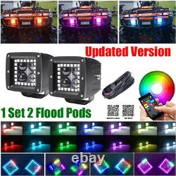 Pair 48W 3 4D Led Work Light Bar Flood Pods with RGB Halo Chasing Bluetooth Kit