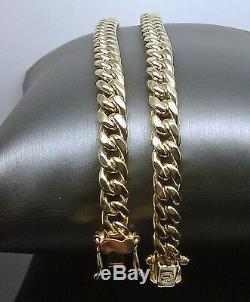 REAL 10k Miami Cuban Necklace 24 Inch 8 mm, Box lock with 8 Bracelet Set