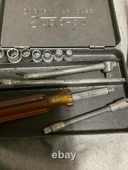 Rare Clean Vintage Snap On Midget 1/4 Inch Socket Set & Metal Box