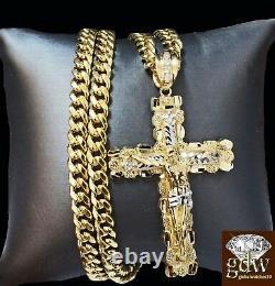 Real 10k Yellow Gold Jesus Cross Pendant 10k 30 Inch Cuban Chain Box Lock Set