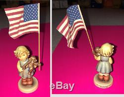 SET OF 7 M. I. HUMMEL FLAG-HOLDING FIGURES (3.25 inches tall) IN ORIGINAL BOXES