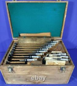 STARRETT 436 0-12 INCH MICROMETER SET in wood box with mitutoyo standards 1-11