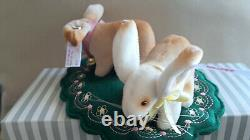 STEIFF Bunny Rabbit 2 pc Set Limited Edition 4 inch beige white velvet New 2021
