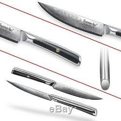 SUNNECKO 6PCS 5 inch Steak Kitchen Knife Gift Box Set Japanese Damascus