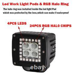 Set(2pcs) 48W 3 LED Work Light Flood Beam Cube Pods RGB Halo Ring Chasing 12V