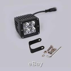 Set 48W 3 LED Work Light 4 Pods White Green Strobe Flood Fog Warning & HARNESS