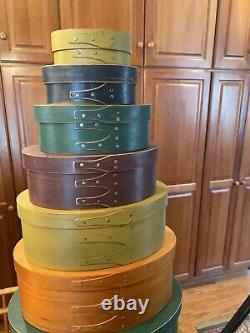 Set Of 9 Vintage Shaker Boxes Primitive Country 31 Inches