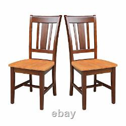 Set of 2 Traditional Dining Chairs Solid Wood Box Seat Slat Back Espresso Finish