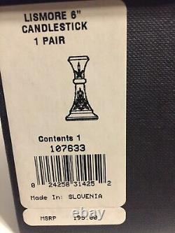 Set of 2 Waterford Lismore 6 Inch Candlesticks -New In Box! Stunning