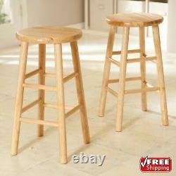 Set of 2 Wood Counter Stools Bar Stools Dining Kitchen Round Seat Chair 24-Inch