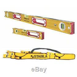 Stabila 37816 48-Inch & 16-Inch Aluminum Box Beam Level Set with 5-Pocket Case