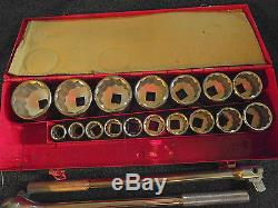 Stanley 21 piece 3/4 inch drive socket set, 7/8 2 3/8, used once in box, ratchet