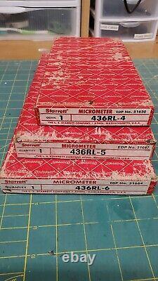 Starrett 436RL-4 4-6 inch micrometer set and 436RL-5 436RL-6 in Box