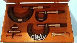 Starrett 436 0-3 inch Outside Micrometer Set Carbide Tip wood box