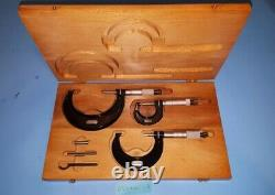 Starrett 436 0-3 inch Outside Micrometer Set wood box NICE