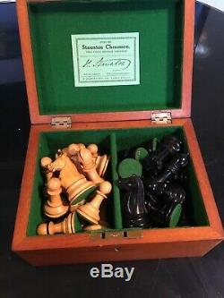 Stunning ANTIQUE JAQUES CHESS SET Weighted 3.5 inch Kings AND ORIG BOX