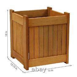 Sunnydaze Meranti Wood Outdoor Planter Box 16-Inch Set of 2
