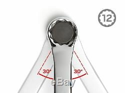 TEKTON 45-Degree Offset Box End Wrench Set with Store and Go Keeper, Inch