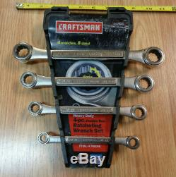 USA Made= CRAFTSMAN = 4pc SAE INCH Double Box End Ratcheting Wrench Set standard