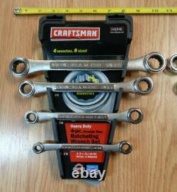 USA Made = CRAFTSMAN = Double Box End Ratcheting Wrench Set METRIC & SAE INCH 8