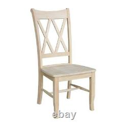 Unfinished Wood Dining Chair Set of 2 Double X-Back Solid Box Seat Furniture