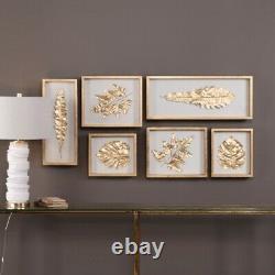 Uttermost Shadow Box Set/6 Alternative Wall Decor Golden Leaves 28 inch