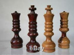 VINTAGE SPANISH LARGE CHESS SET CARVED OLIVE WOOD K 5 inch AND BOX NO BOARD
