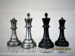 VINTAGE STAUNTON JAQUES PATTERN CLUB SIZE METAL CHESS SET K 4 inch AND BOX