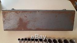 Vintage Craftsman 1/2 Inch Ratchet Socket Set 21 Piece With Original Tool Box