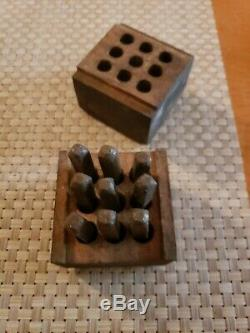 Vintage Craftsman USA Metal Die Punch Stamp Numbers Set 1/8 Inch 9 Pc Wood Box