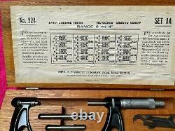Vintage Starrett #224 Anvil Micrometer Set Aa 0-4 Inch In Original Wooden Box