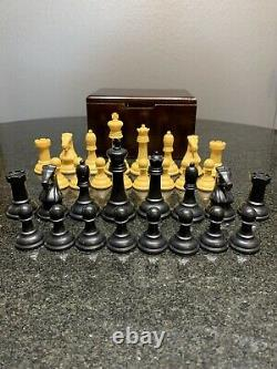 Vintage Weighted Drueke 35 Chess Set with Refinished Wood Box 3 5/8 inch Kings